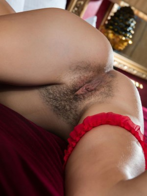 """""""Semmi A feistily removes her red bra and panties to lay bare her inconceivably perfect bosom and soft pubes covering her beautiful holes. """""""